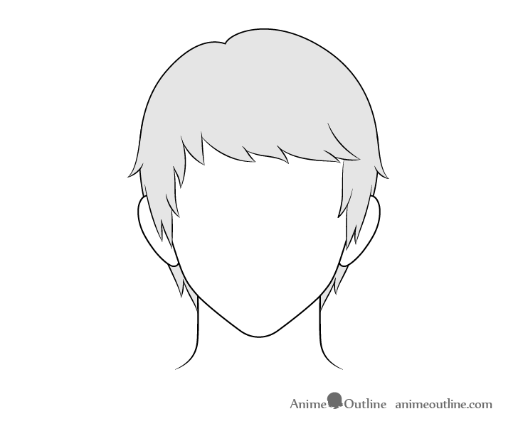 Anime combed male hair drawing