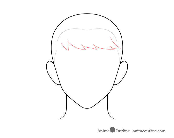 Anime combed male hair front drawing