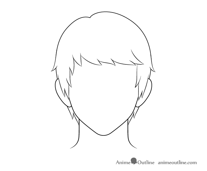Anime combed male hair line drawing