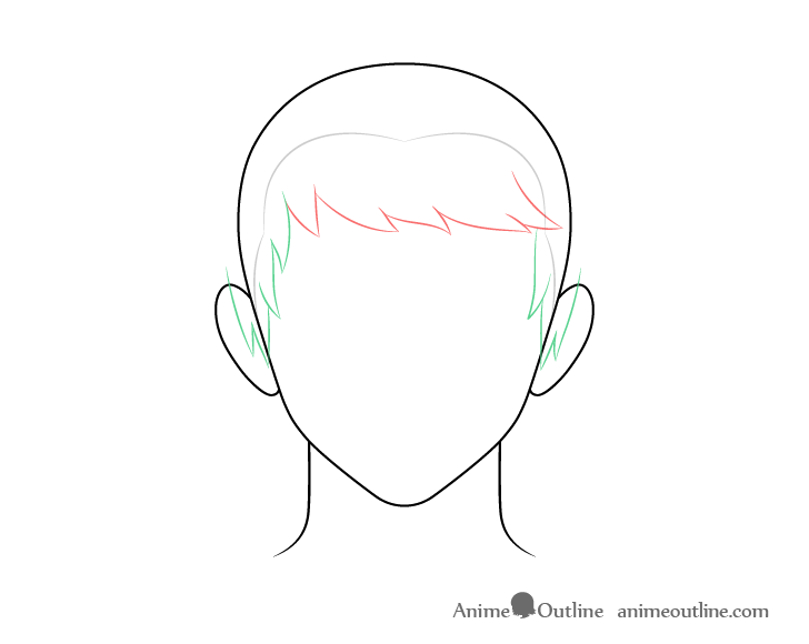 Anime combed male hair sides drawing