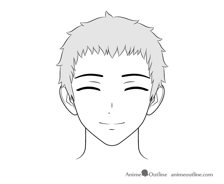 Anime friendly guy content face drawing
