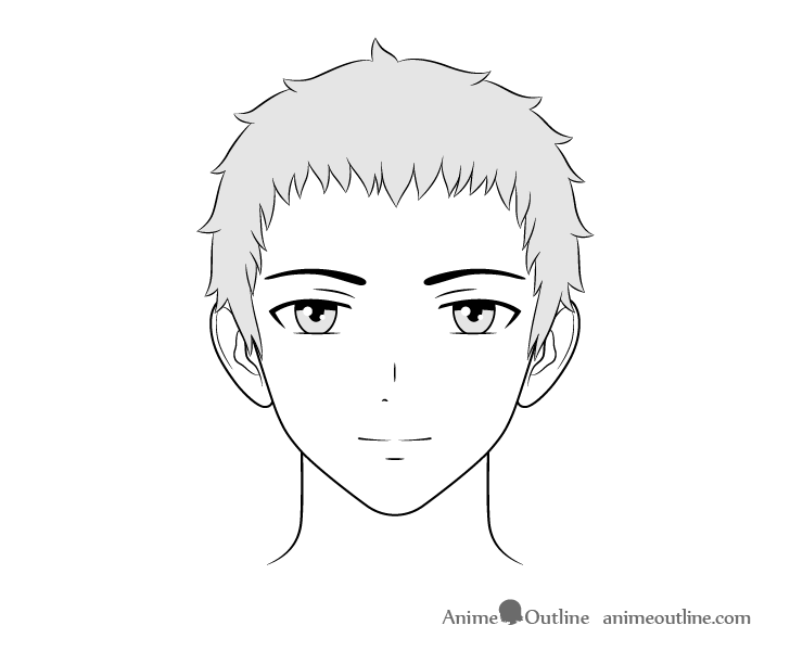 Anime friendly guy face drawing