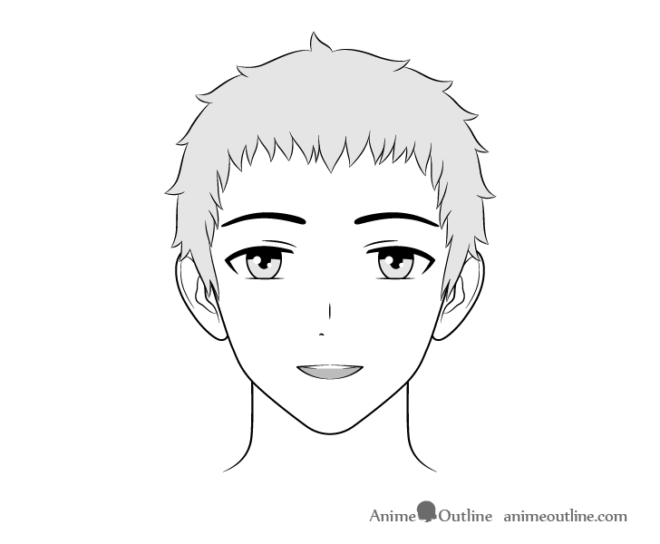 Anime friendly guy surprised face drawing