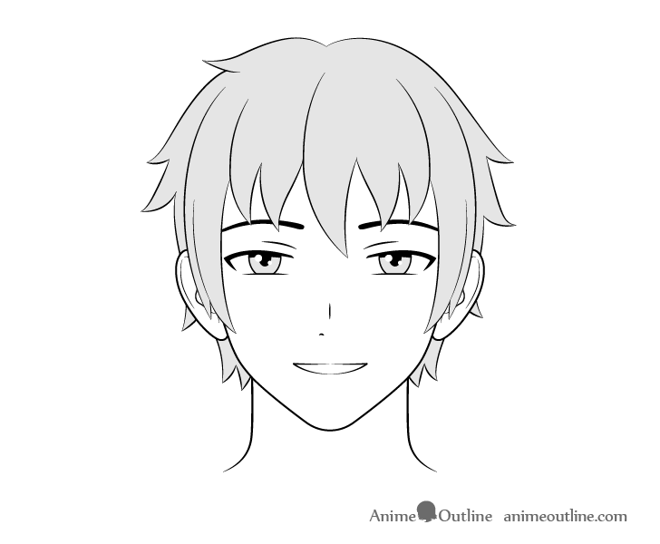 Anime guy happy face drawing