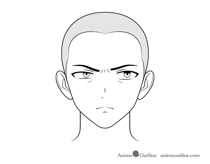 Anime henchman alarmed face drawing
