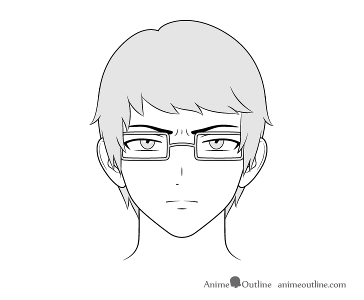 Anime intellectual guy concerned face drawing