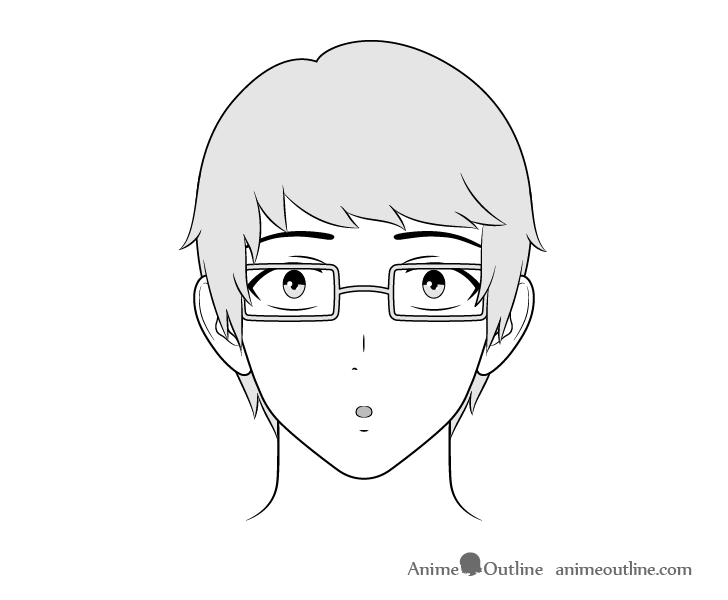 Anime intellectual guy surprised face drawing