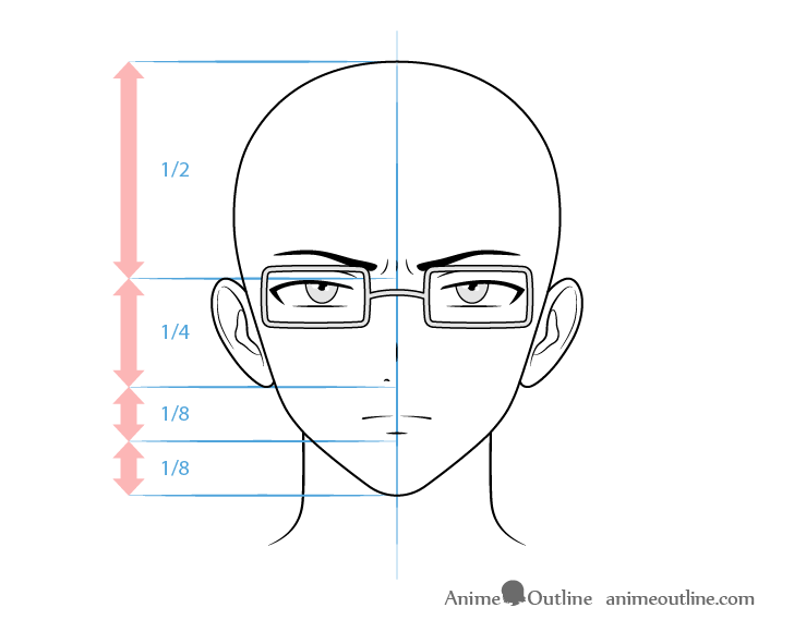 Anime intellectual male character concerned face drawing