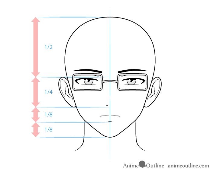 Anime intellectual male character face drawing