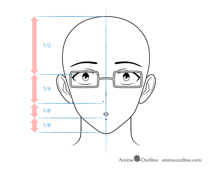 Anime intellectual male character surprised face drawing