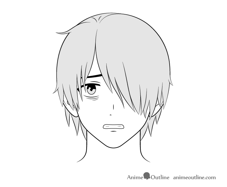 Anime loner guy scared face drawing