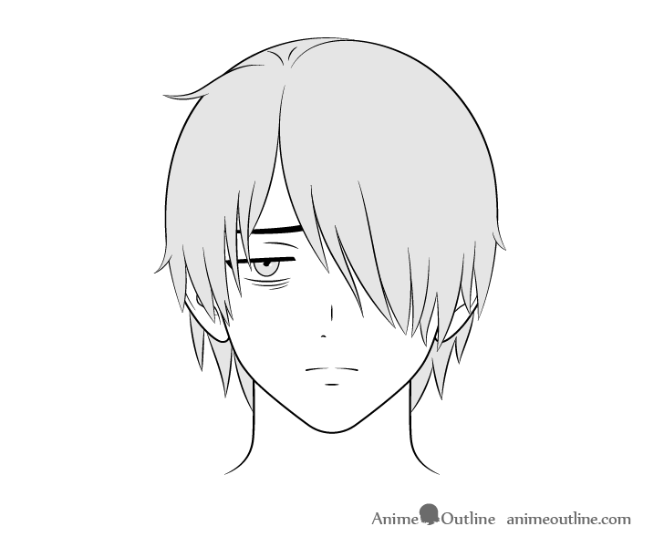 Anime loner guy tired face drawing