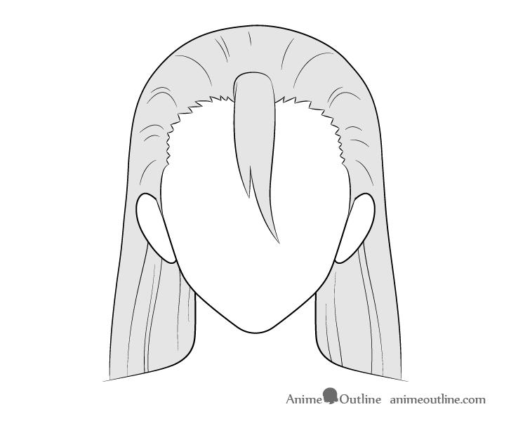 Anime long male hair drawing