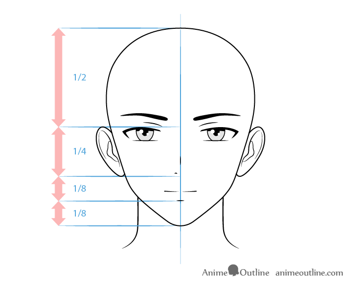 Anime male character face drawing
