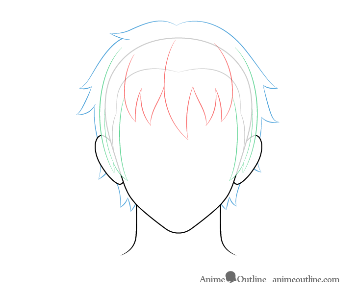 Anime male hair back and top drawing