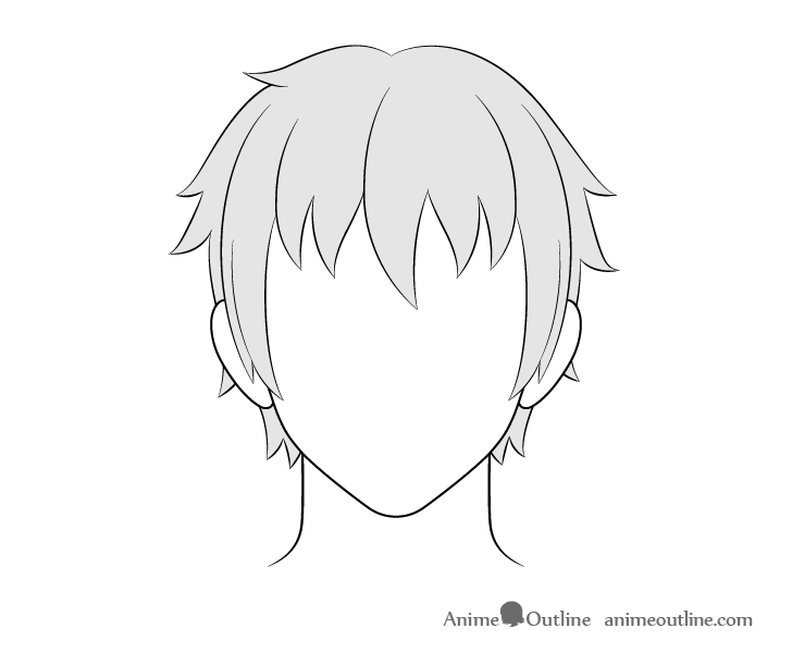 Anime male hair drawing