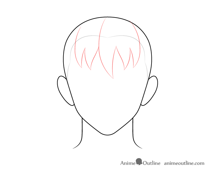 Anime male hair front drawing