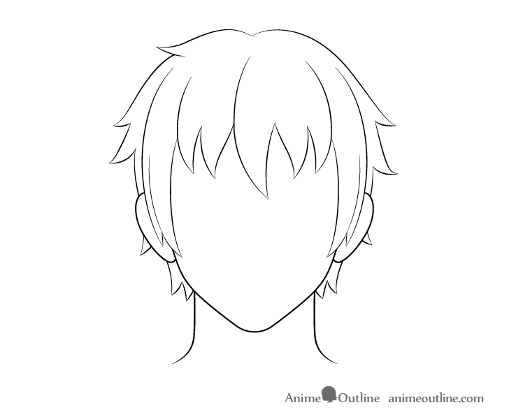 Anime male hair line drawing