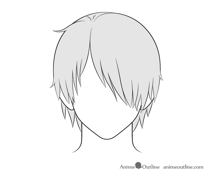 Anime male hair over one eye drawing