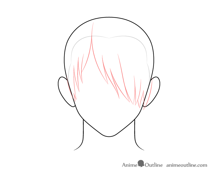 Anime male hair over one eye front drawing