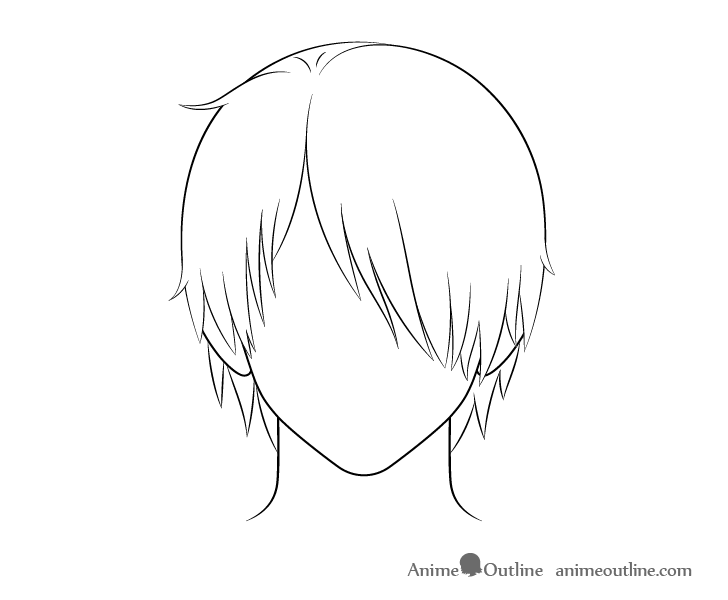 Anime male hair over one eye line drawing