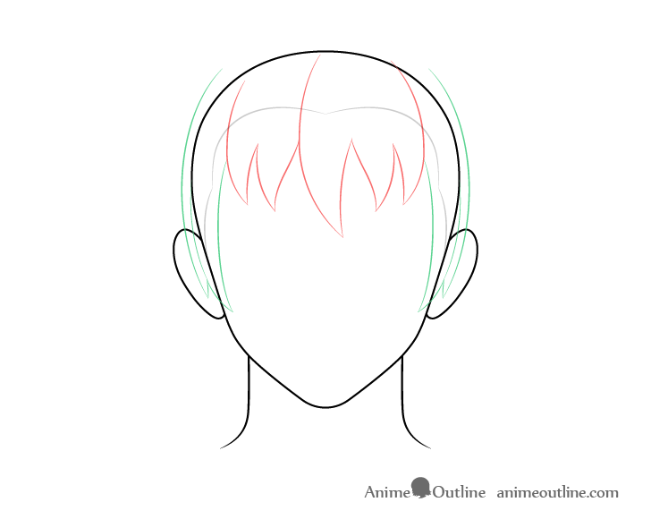 Anime male hair sides drawing