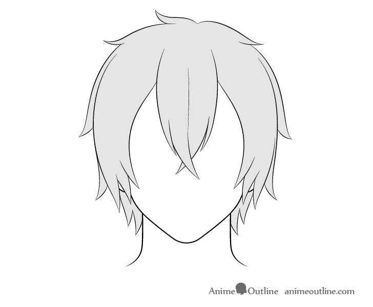 Anime medium long male hair drawing