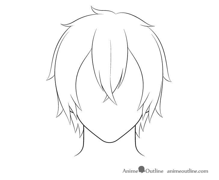 Anime medium long male hair line drawing