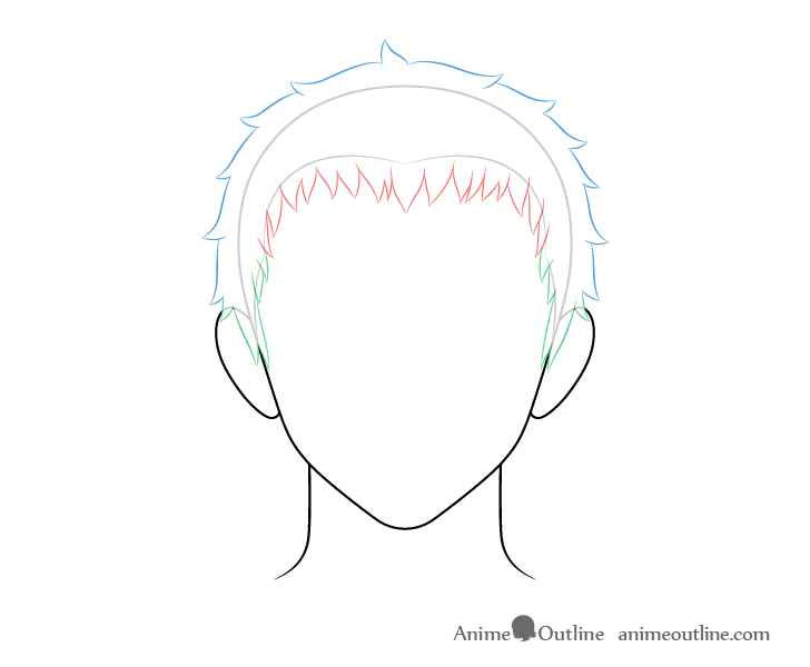 Anime short male hair back and top drawing