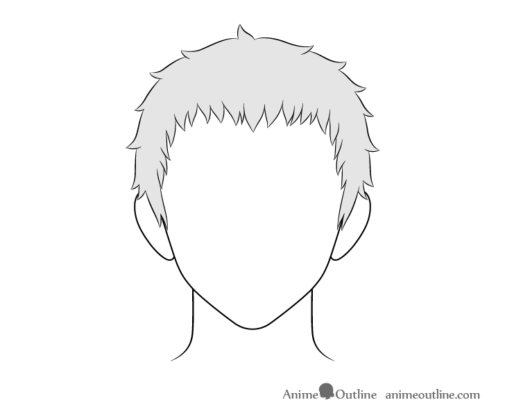 Anime short male hair drawing