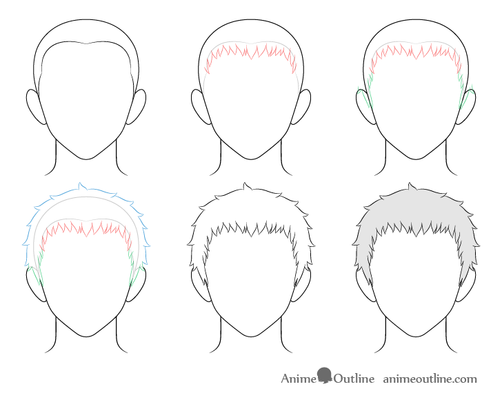 Anime short male hair drawing step by step