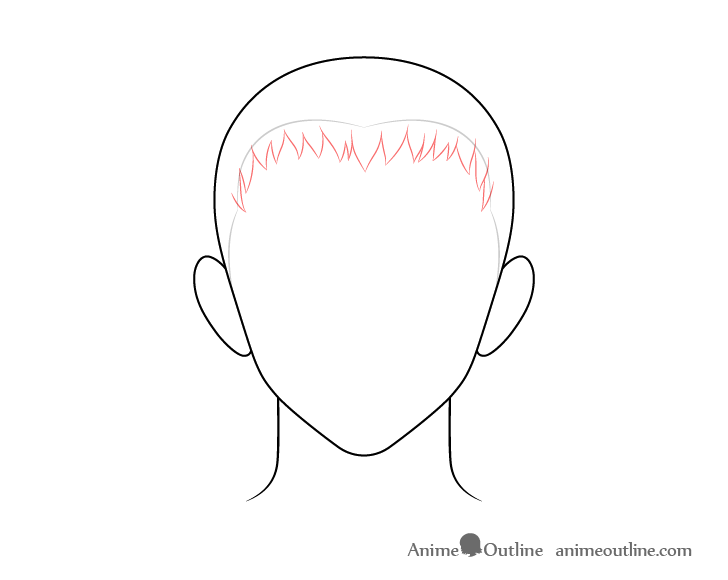 Anime short male hair front drawing