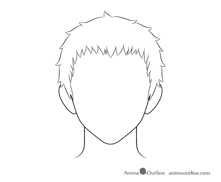 Anime short male hair line drawing