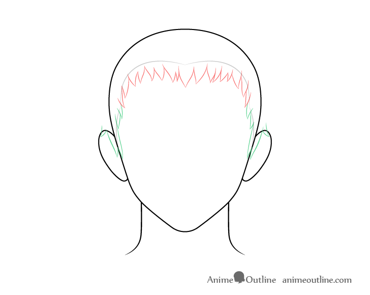 Anime short male hair sides drawing