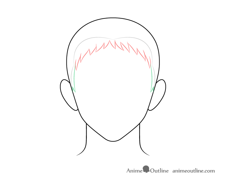 Anime spiky male hair sides drawing