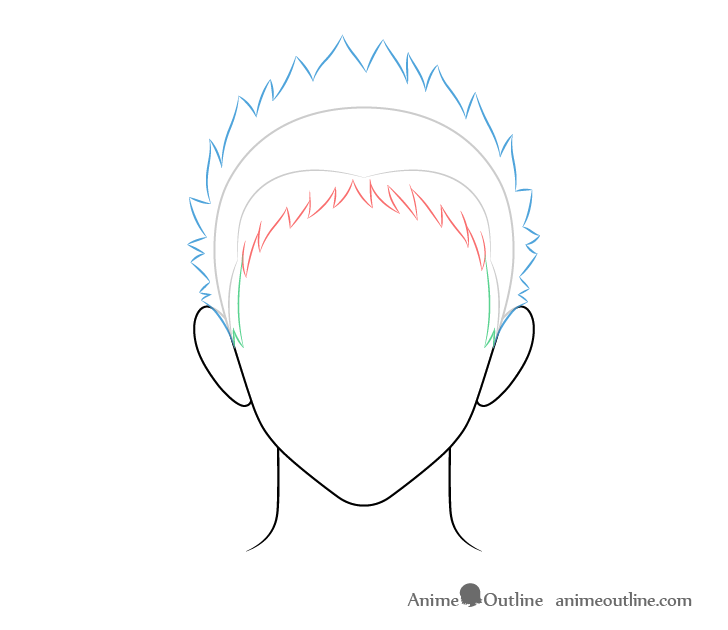 Anime spiky male hair back and top drawing