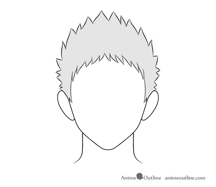 Anime spiky male hair drawing