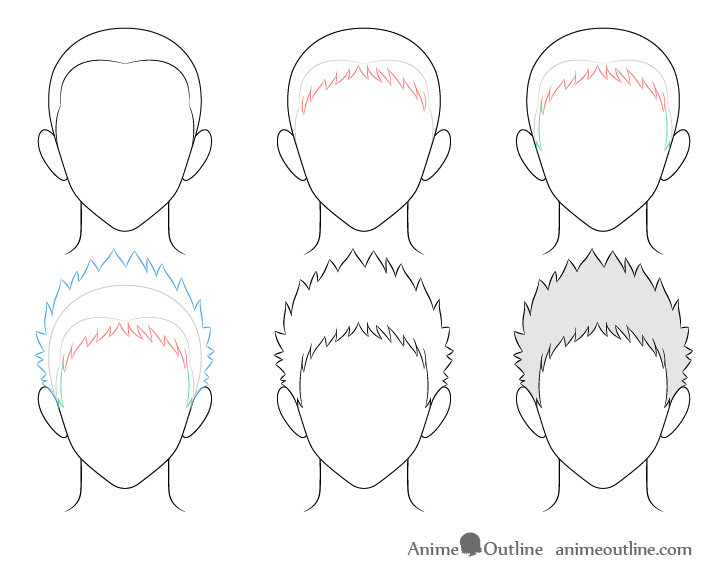 Anime spiky male hair drawing step by step