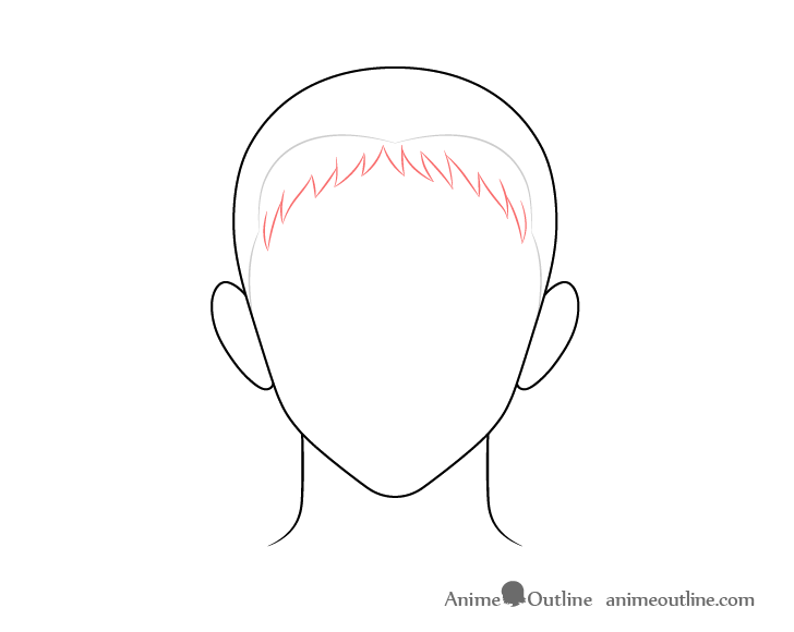 Anime spiky male hair front drawing