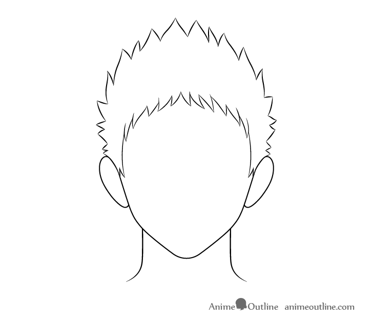 Anime spiky male hair line drawing