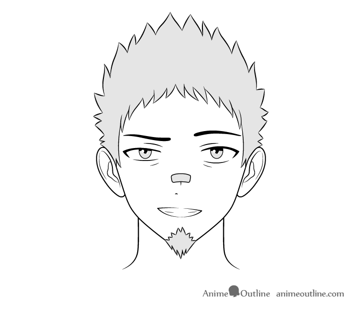 Anime thug guy grinning face drawing