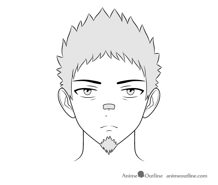 Anime thug guy face drawing