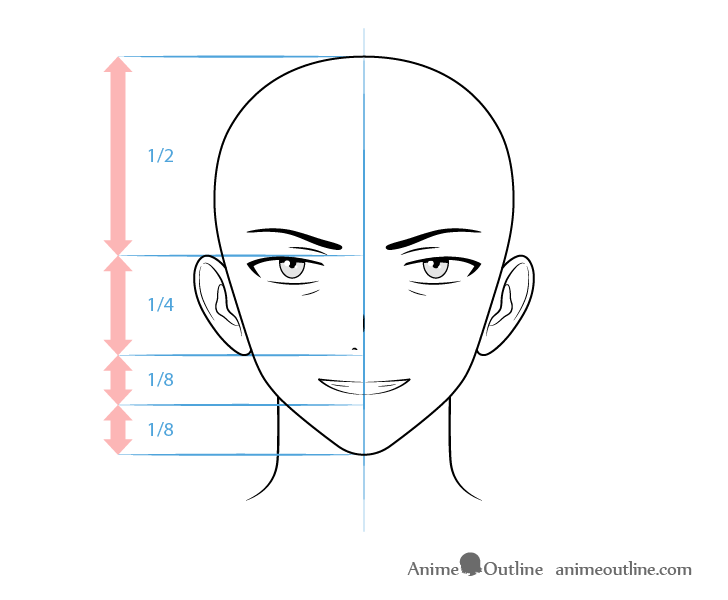 Anime thug male character grinning face drawing