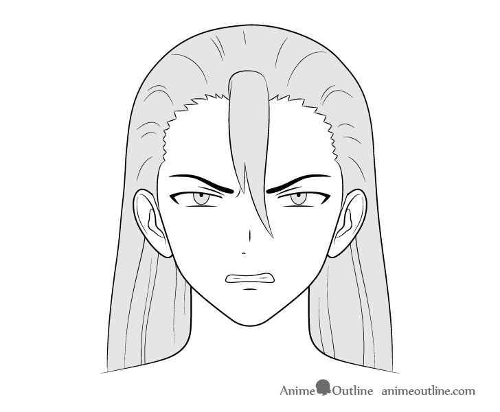 Anime villain guy angry face drawing