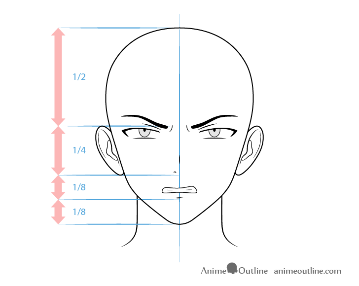 Anime villain male character angry face drawing