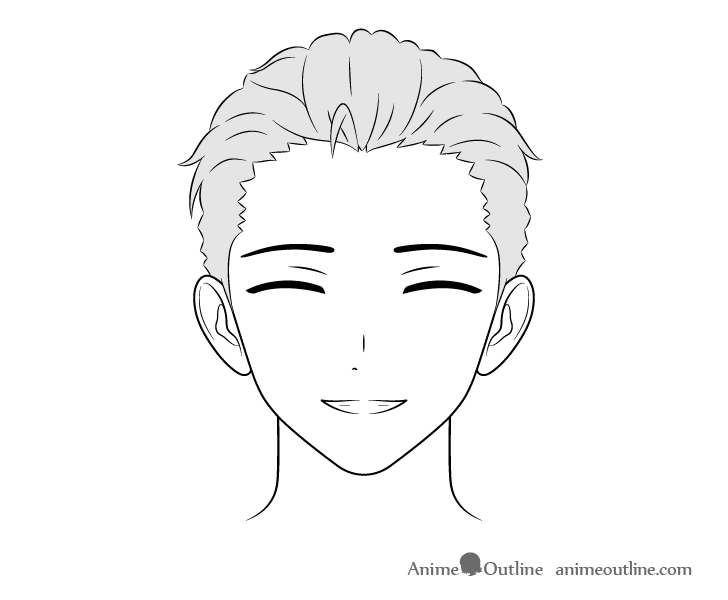 Anime wealthy guy smiling face drawing
