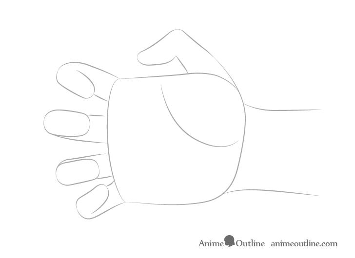 Dibujo de dedos alcanzando la mano