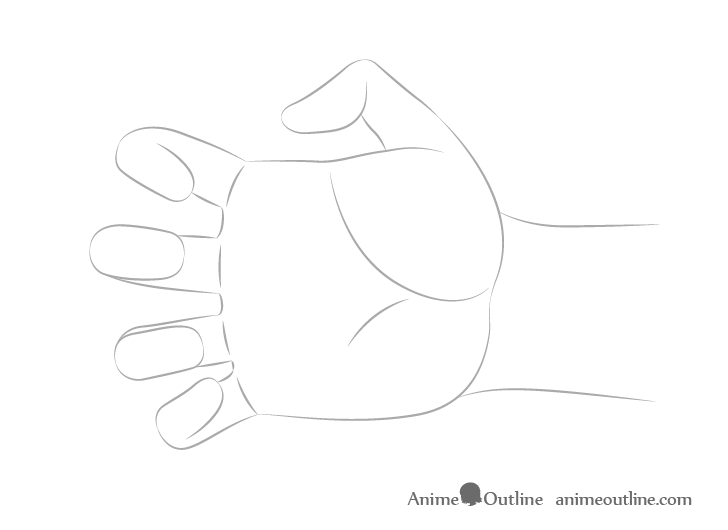 Hand reaching shape drawing