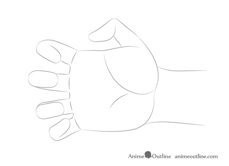 Dibujo de forma de mano alcanzando
