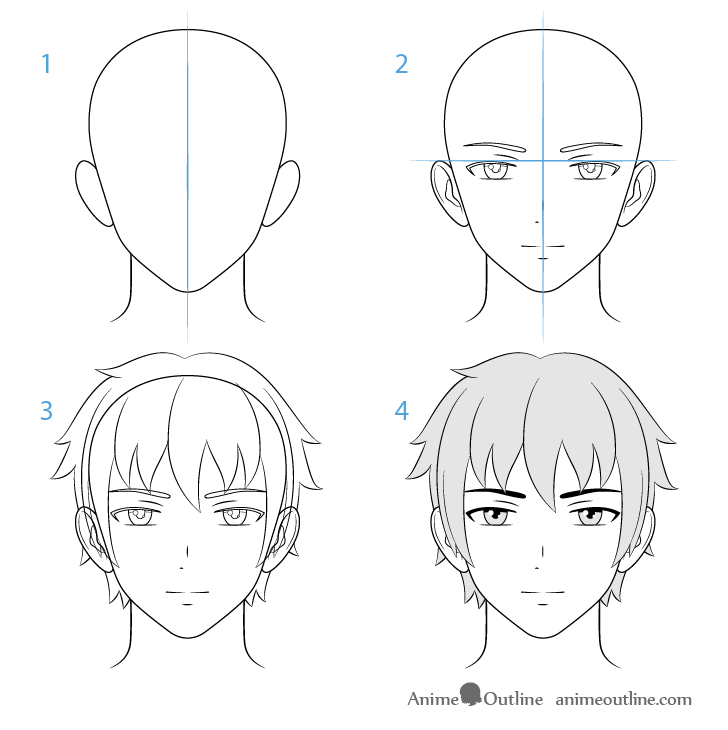 Male anime character face drawing step by step